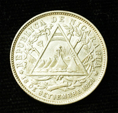 1887 Nicaragua Silver 20 Cents super Free S&H