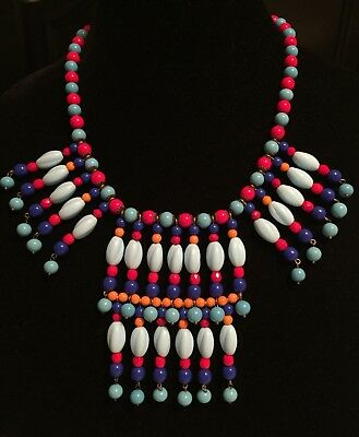 Vintage Egyptian Revival Glass Bead Runway Couture Necklace OOAK