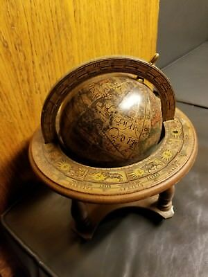Vintage Antique Old World Globe, Desktop Wood Stand, Made In Italy Zodiac Signs