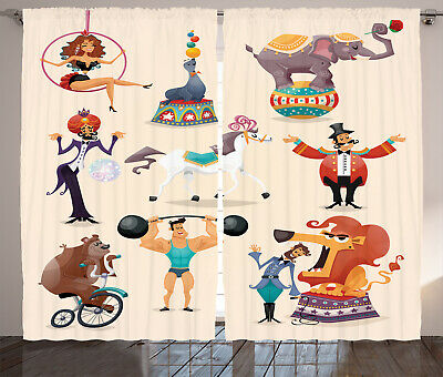 Vintage Circus Characters Animals Weights Contumes Image Curtain 2 Panels Set