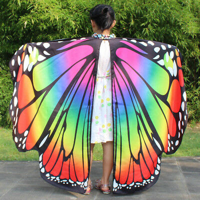 Kid Girl Butterfly Wings Shawl Scarves Nymph Pixie Poncho Costume Accessory