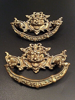 Set of 2 Antique Brass / Bronze Lion Head Drawer Pulls Handles Ornate Patina