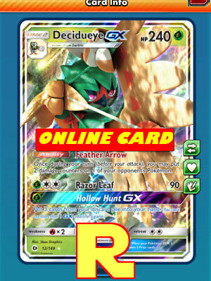 Decidueye GX - Regular Art - for Pokemon TCG Online ( ptcgo in Game Card)