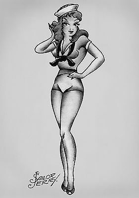 All Sizes Sailor Jerry Pin Up Cocktail BOX CANVAS Art Print Black /& White