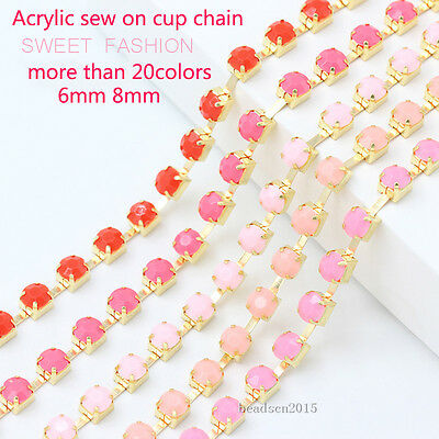 ss28 ss38 Acrylic Cystal Rhinestone Cup Claw Chain Trim Jewelry Crafts 1Yd 1-Row