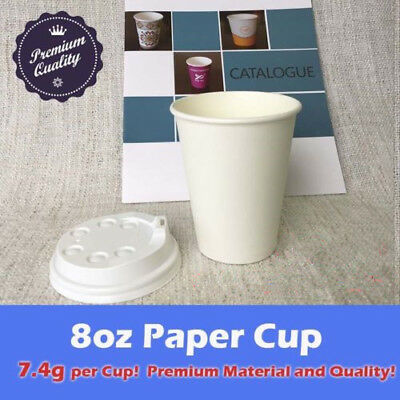 400pcs/200sets 8oz Disposable Coffee White Paper Cups Single Wall W/Lids Party