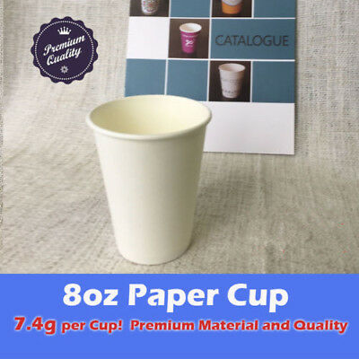 100cups 8oz Disposable Coffee Paper White Cups Only 7.4g Premium Party Takeaway