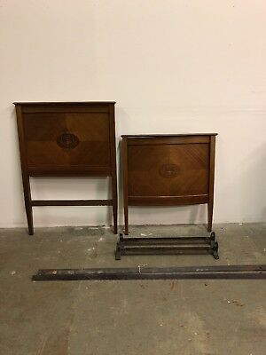 Antique Mahogany Single bow front Colonial Bed