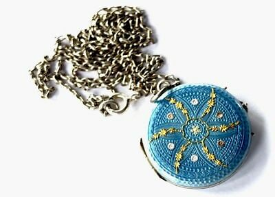 Exquisite Ornate Blue Enamel Gilded Silver Double Picture Locket Chain Necklace