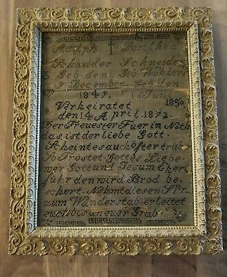 Antique Framed German Sampler c.1870