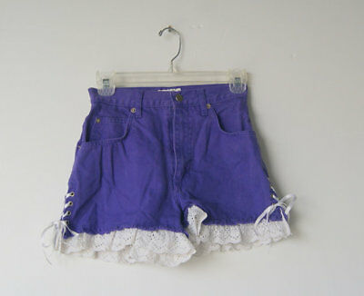 Vintage 1980's Purple Denim and Lace Ruffle High Waisted Shorts 3