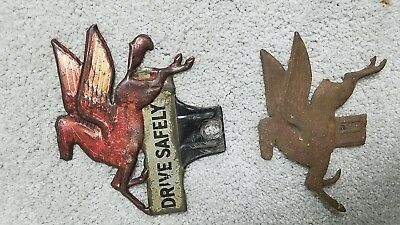 2 Vintage Advertising / Gas & Oil / Mobil / Pegasus License Plate Toppers
