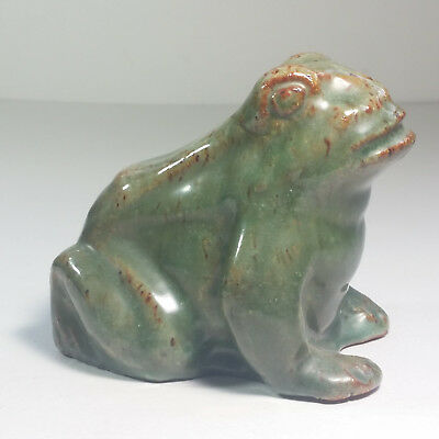 Vintage Red Clay Hollow Frog Decorative Figurine Home Decor Mottle Green