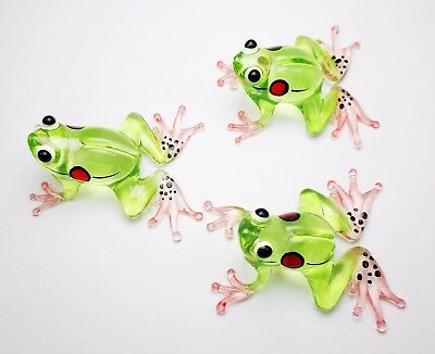 3pcs FROG FIGURINE PAINTED HAND BLOWN GLASS ANIMALS MINIATURE COLLECTION GIFT