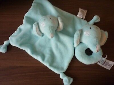 Mothercare Roll Up Roll Up Elephant Comforter Soft Toy Cuddle Blankie & Rattle