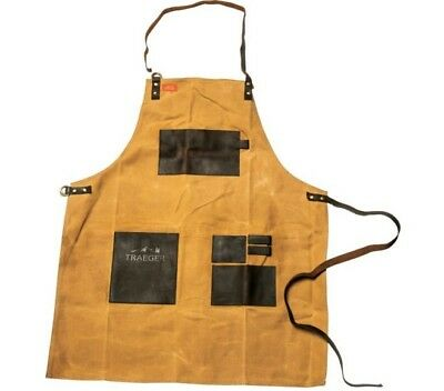 "Traeger® Canvas & Leather Apron, Black & Brown. Size 32""L x 25""W. Brand New!"