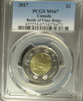 2017 Canada Two Dollar $2 Battle of Vimy Ridge Toonie, PCGS MS 67