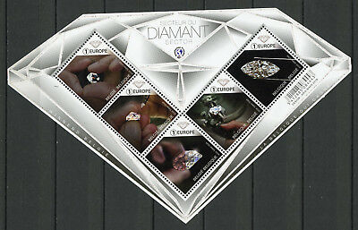 Belgium 2018 MNH Diamond Diamant Sector 5v M/S Minerals Diamond Shaped Stamps