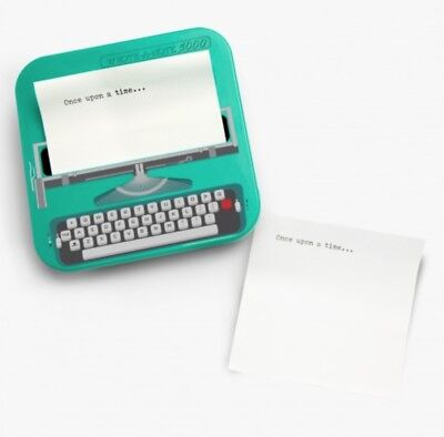 Typewriter Shaped Sticky Notes in Turquoise post it gift women girls blue typing