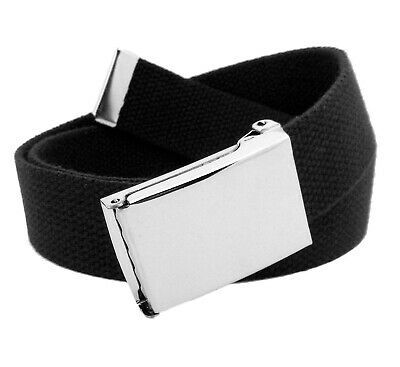 Men's Classic Silver Flip Top Military Buckle with Canvas Web Belt