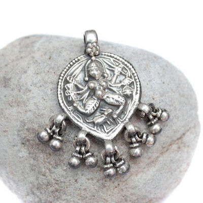Antique Ethnic Tribal Old Silver Hindu God Vintage Pendant Necklace Jewelry