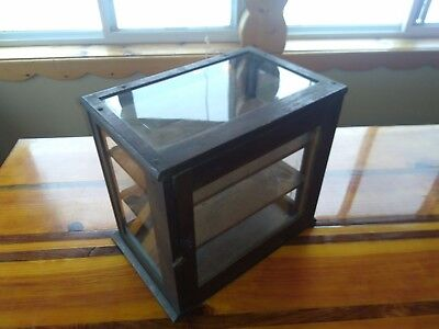 Antique Country Store Small Oak Frame Counter Showcase Glass Display vintage