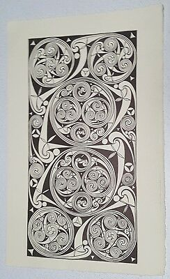 "Aidan Meehan ORIGINAL Irish Celtic Art Print ""Durrow Spirals"" Deckle Edged Paper"