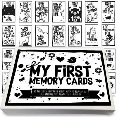 Pack Of 40 Babies 1st Year Memorable Moments Milestone Cards Baby Shower B&W