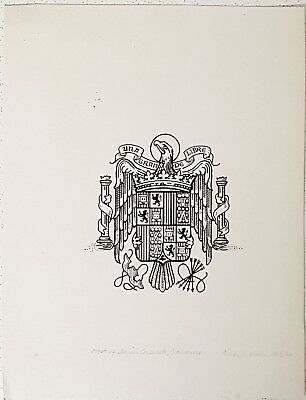 "Aidan Meehan ORIGINALPen and Ink Heraldic ""Spanish Crest"""
