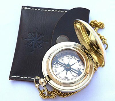 Handmade Brass Push Open Compass On Chain With Leather Case Pocket Compass Fo...