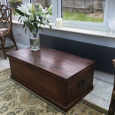 Antique mahogany trunk box chest coffee table storage
