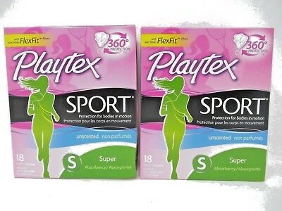 2 Pack Playtex Sport Super Absorbency Unscented 18 Plastic Tampons Each