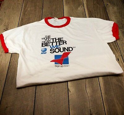 Vintage AT&T XL Extra Large Ringer Tee T-Shirt More You Hear Better We Sound ATT