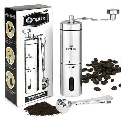 Stainless Steel Conical Burr Manual Coffee Grinder Portable Hand Crank Bean Mill