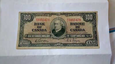 Bank of Canada 1937 One Hundred Dollars signed by Gordon and Towers.