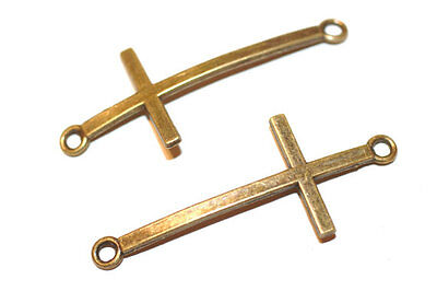 10pc  Antique Bronze Cross Bracelet connector charms 1-3 day shipping