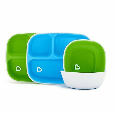 Munchkin Splash 4 Piece Toddler Divided Plate and Bowl Dining Set, Blue/Green