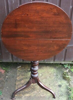 Very Old Looking Nice Useful Sized Wooden Tilt Top Table On Tripod Leg To Tidy