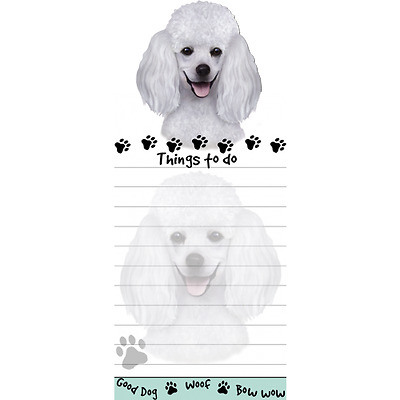 Poodle White Magnetic Post It Dog Breed Stationery Notepad