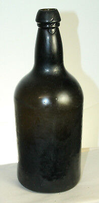 Early Crude  Mallet Pontil Black Glass Rum Bottle 9 5/8''