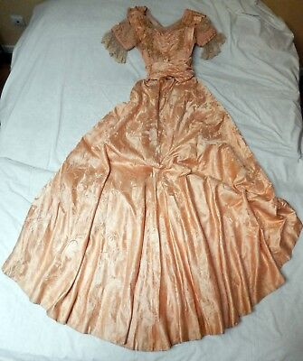 Antique  French Silk Damask Two Piece Ball Dress 1896 -1898