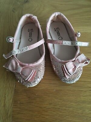 M&S Girls Pink Sequin Shoes Size 8