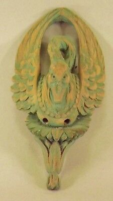 Old Antique Carved Wood Goose/ Swan, Salvage, Fragment, Shabby Chic. Green Wash