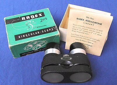 VINTAGE 1950s RADEX BINOCULAR 3D STEREO SLIDE VIEWER IN ORIGINAL BOX WITH PAPERS