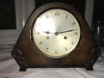 Original Art Deco Striking Oak Mantle Clock In Great Working Order