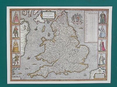 """Print of Map of """"The Kingdome of ENGLAND"""" Quality print on cream paper . 12x16 """""""