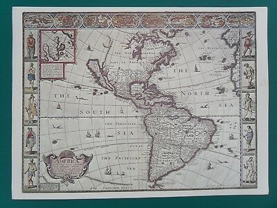 """Print of Map of """"AMERICA the New World"""" Quality print on cream paper . 12x16 """""""