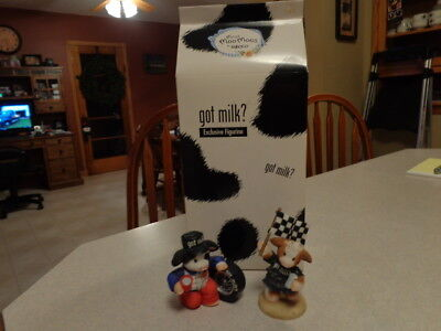"""Mary Moo Moos """"Lap It Up To The Finish"""" Got Milk Figurines"""