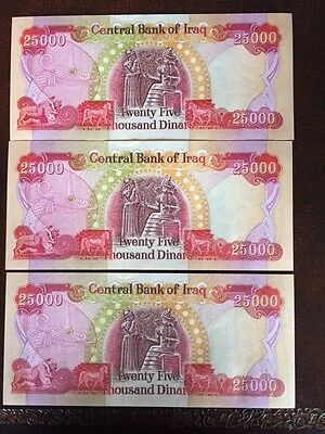 125,000 Iraqi Dinar (5) 25,000 Notes! Crisp Uncirculated! Authentic! Iqd!