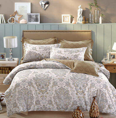 100% Cotton Bedding Set-Paisley Moroccan Reversible Style Matching Sheet 4in1